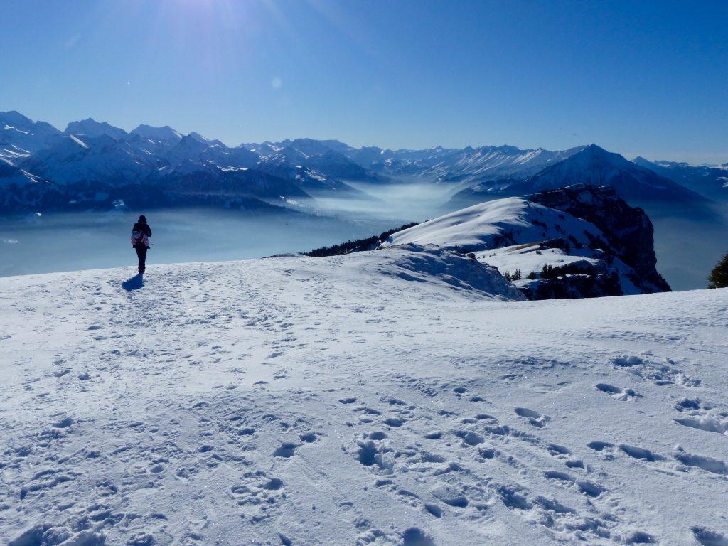 Winter walk Niederhorn Burgerfeldstand Switzerland